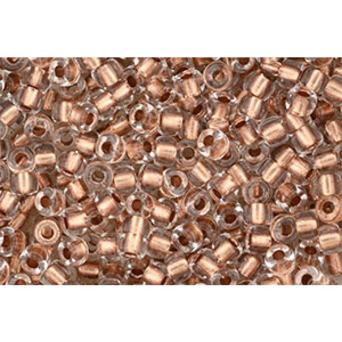 Perles de rocaille Matubo  6/0  4.1x2.9mm  crystal copper lined (x10g)