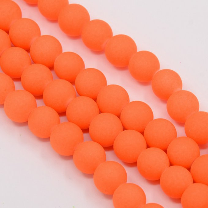 Perles de verre fluo diamètre 10 mm orange (x10)