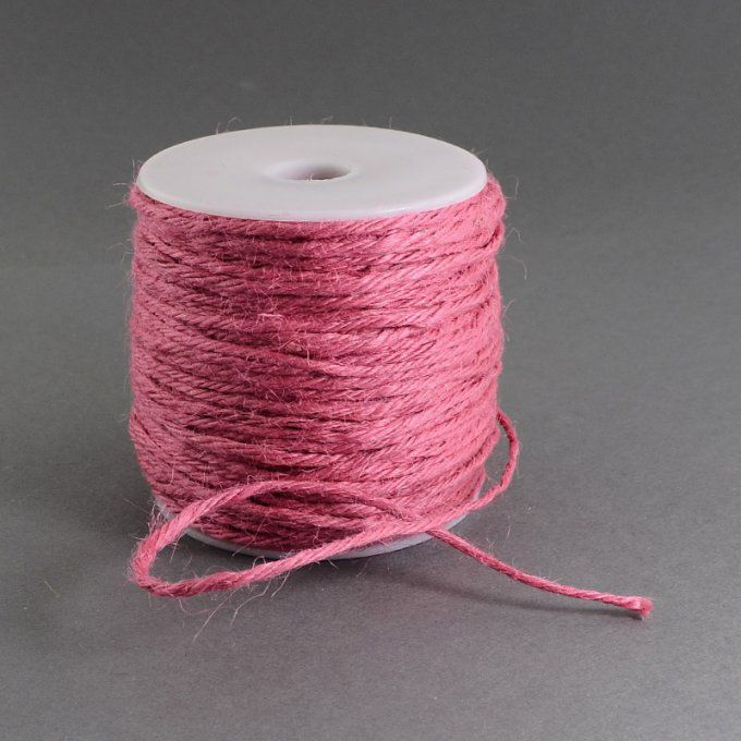 Cordon de chanvre   Ø 2 mm  100 m couleur rouge indien