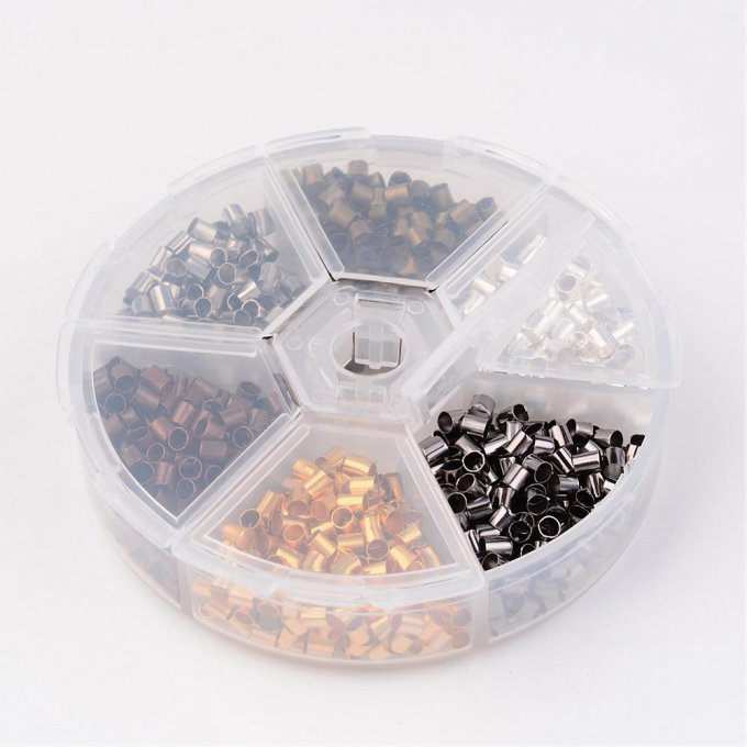 Assortiment perles à écraser Tube 3x3  trou 2.5mm