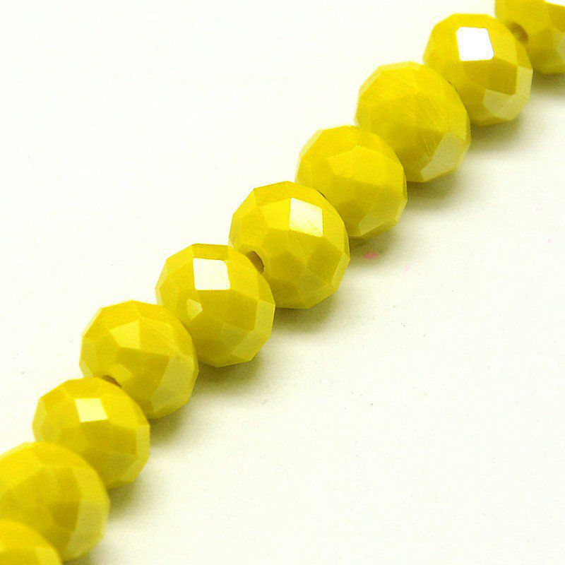Perles facettées,opaque ,forme abaque 8x6mm or AB (x10)