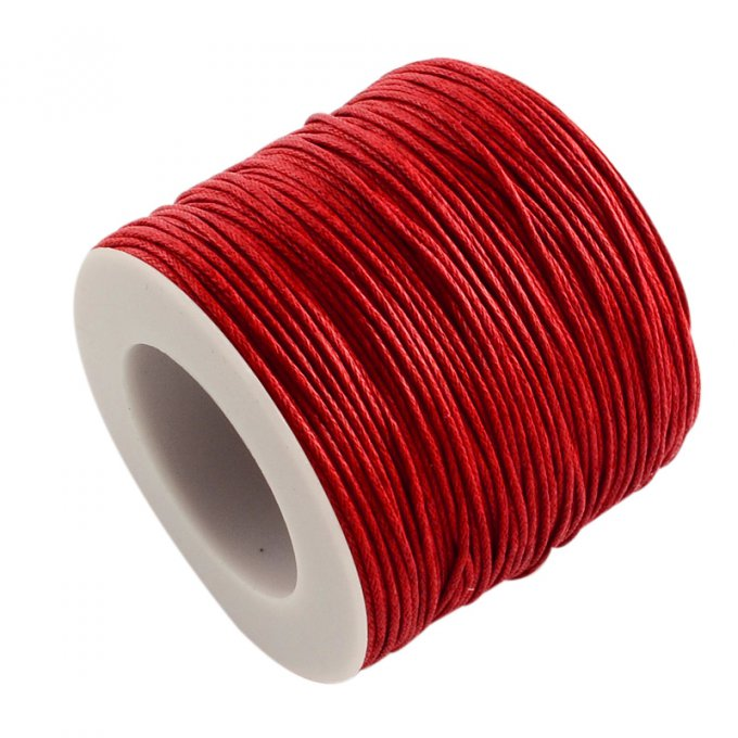 Cordon coton ciré Ø 1mm rouge