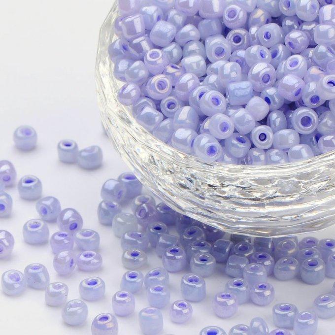 Verre 4mm x 1.8mm 20g Perles de Rocaille Tubes couleur Irisée