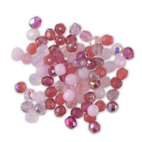 50 Perles Facettes de boheme 4mm CRISTAL ROSE LINED