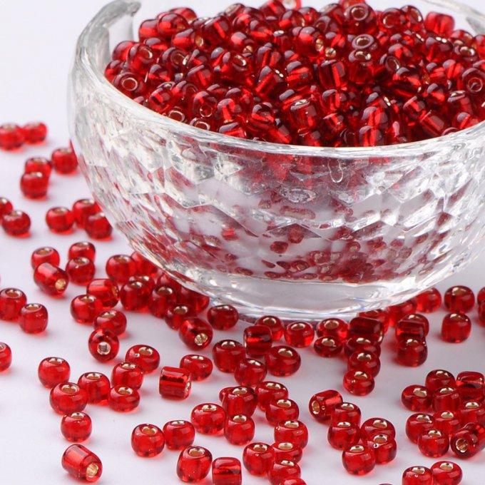 Perles de rocaille  4mm 20g rouge trou argenté