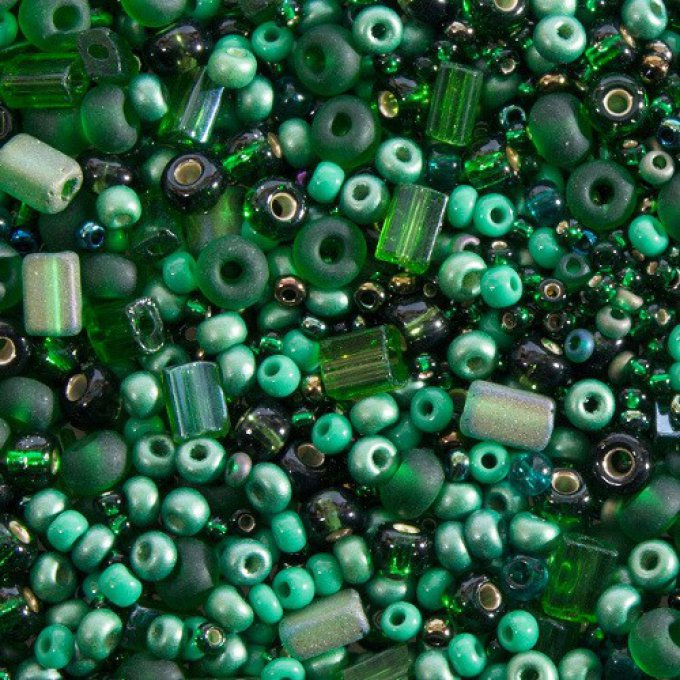 Seed Bead Mixes mélange Dark Green  (x20g)