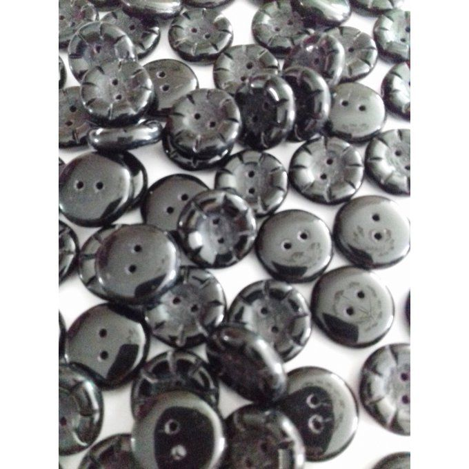 Perle de verre de Bohème   Button Black, Opaque 5x14mm