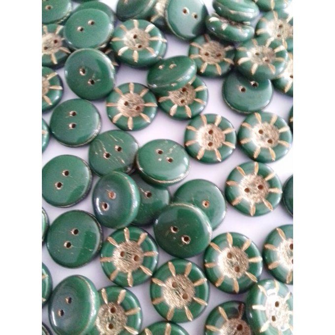 Perle de verre de Bohème   Button Green Opaque 5x14mm