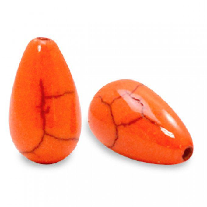 Perle en céramique en forme de goutte 16x10mm couleur orange kaki