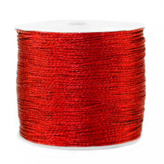 Fil polyester  aspect métallique  Ø 0.5mm  couleur rouge intense