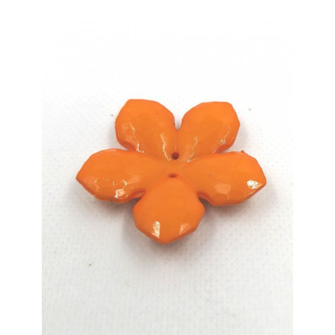 Bouton en acrylique en forme de fleur diamètre 40mm couleur orange