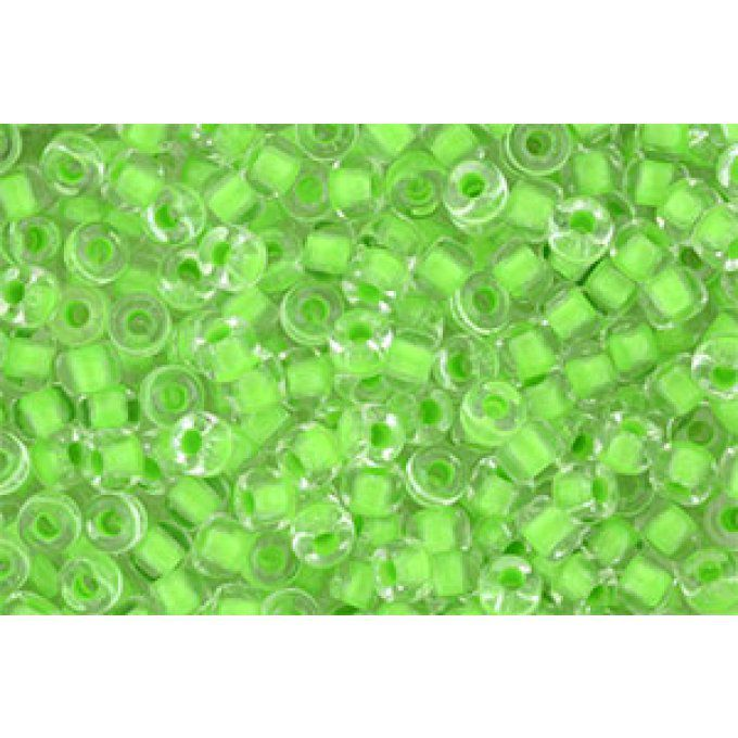 Perles de rocaille Matubo  6/0  4.1x2.9mm  crystal green neon lined (x10g)