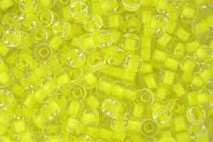Perles de rocaille Matubo  6/0  4.1x2.9mm  crystal yellow neon lined (x10g)