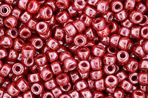 Perles de rocaille Matubo  6/0  4.1x2.9mm  luster coral red (x10g)