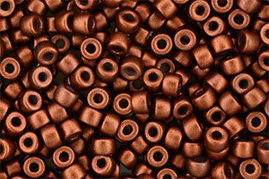 Perles de rocaille Matubo  6/0  4.1x2.9mm  Matte metallic dark copper (x10g)