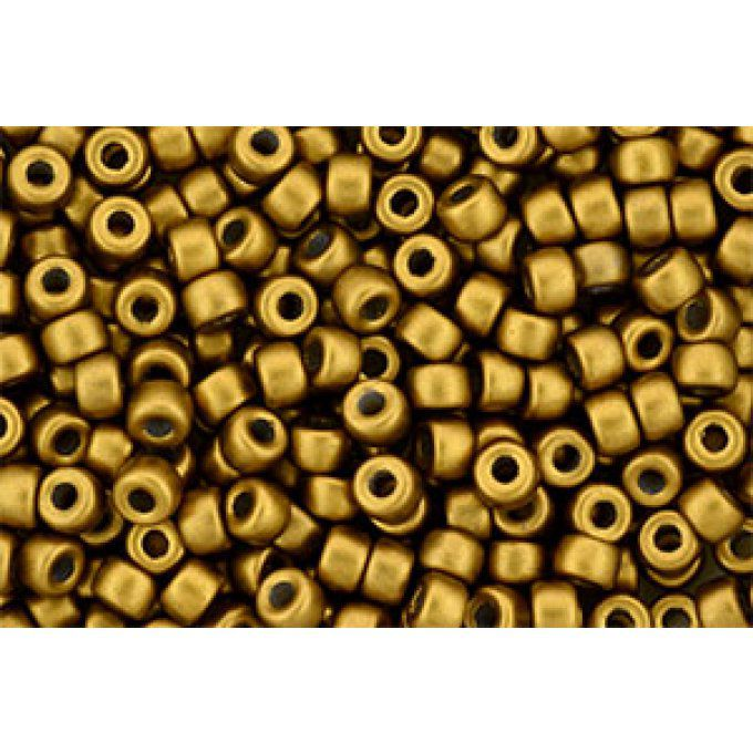 Perles de rocaille Matubo  6/0  4.1x2.9mm  Matte metallic antique gold (x10g)