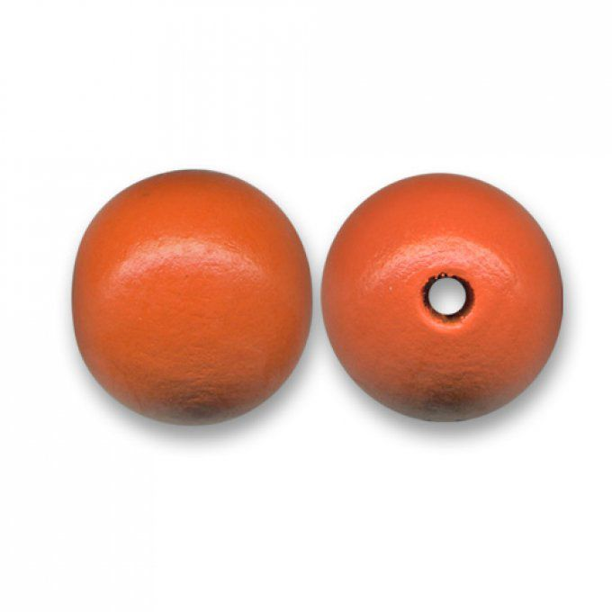 Perle ronde en bois Ø 16mm orange