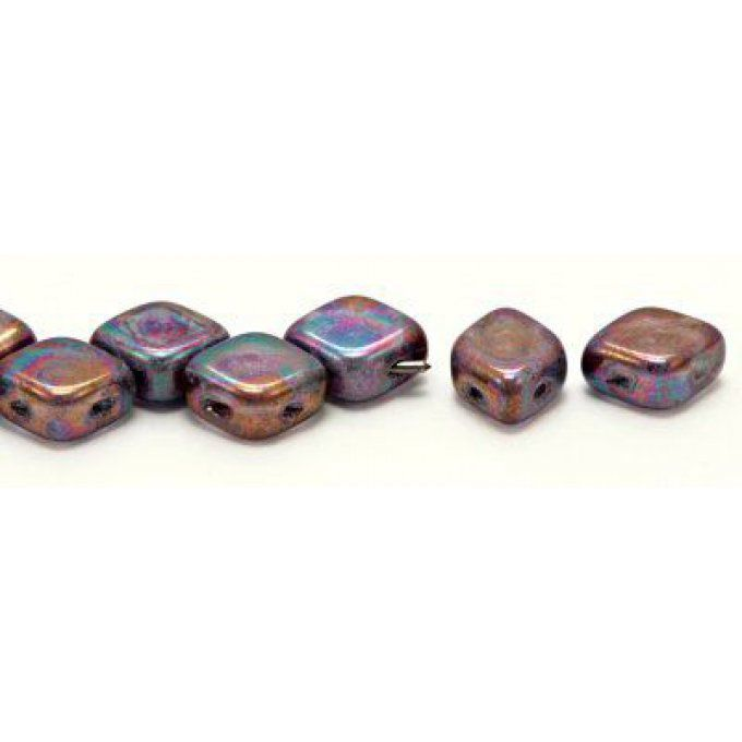 10 Perles Rhombus de Bohème 10x8mm couleur Crystal  Purple Iris