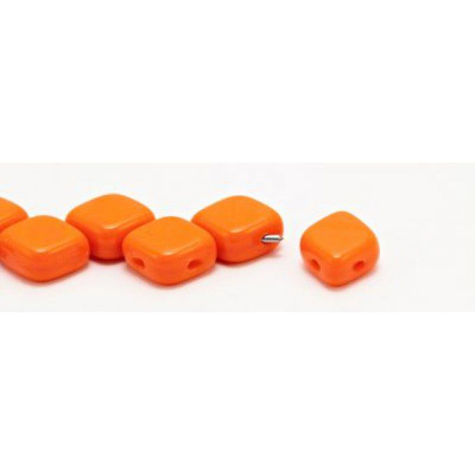 10 Perles Rhombus de Bohème 10x8mm couleur  Orange opaque